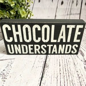 🆕 Sixtrees Wood Block Sign for Chocolate Lovers